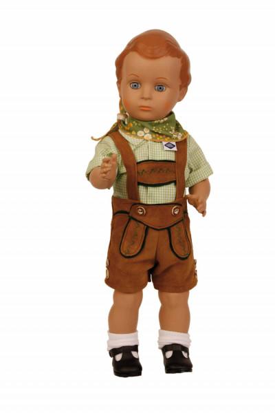 Puppe Hans 41 cm braune Malhaare, Trachtenkleidung