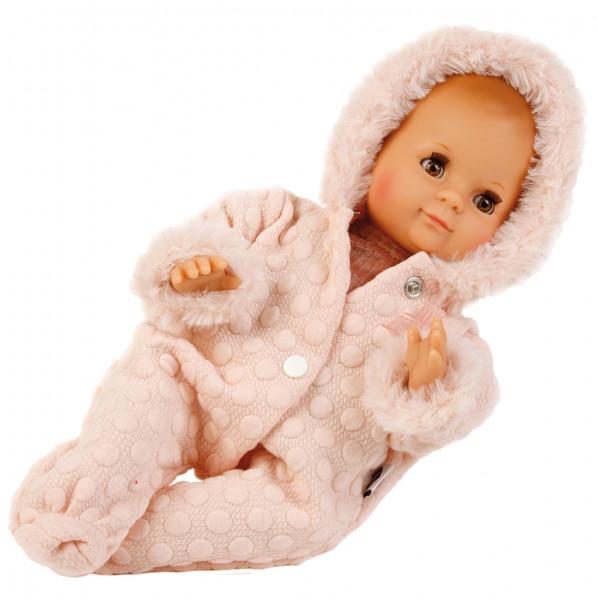 Puppe Schlummerle 32 cm mit Malhaar und braunen Schlafaugen, Winterkleidung rose
