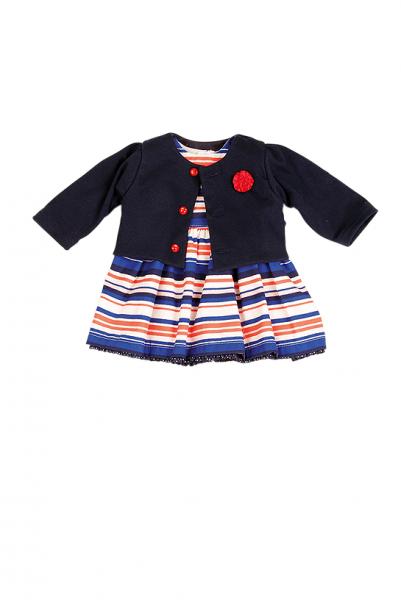 Kleid für Stehpuppe 25 bis 70 cm, blau/weiss/rot