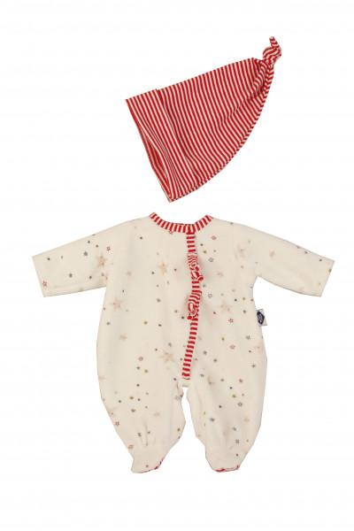 Kleidung zu Puppe Schlummerle 32 cm, Nickyoverall weiss/rot