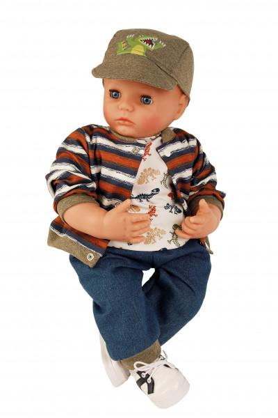 Puppe Peterle 52 cm mit Malhaar, blauen Schlafaugen, Dinolkleidung