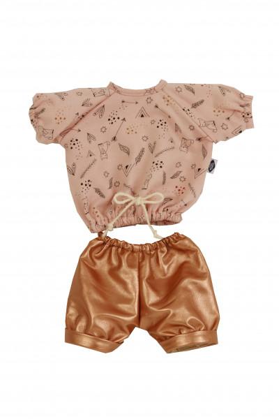 Kleidung zu Puppe 37 cm Schlummerle/Schlenkerle/Strampelchen Gr. 37 rose/rotgold