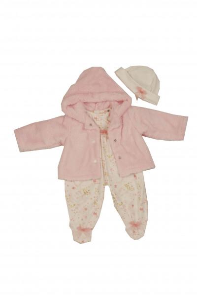 Kleidung zu Puppe 52 cm Julchen/Peterle/Klara/Elli winterlich rose/weiss/gold