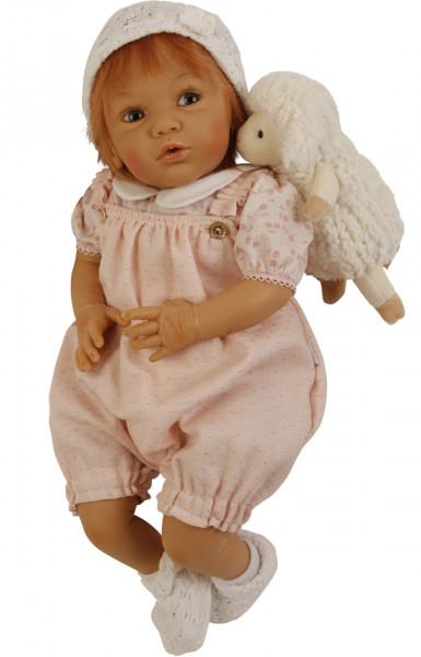 Puppe Rosalie 50 cm von Gudrun Legler, rote Haare, Kleidung rose/weiss