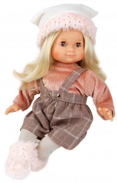 Puppe Schlummerle 32 cm blonde Haare, braune Schlafaugen, Winterkleidung rose/braun/weiss