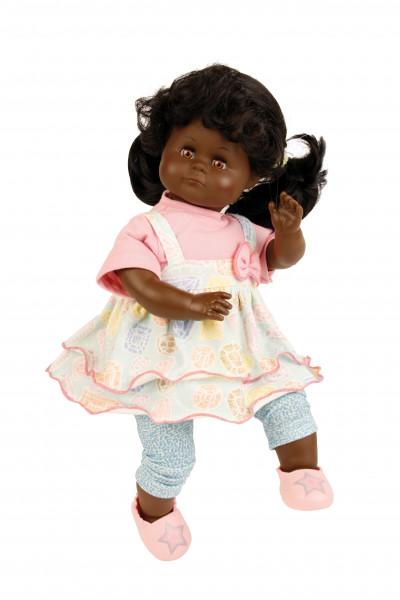 Puppe Schlummerle schwarz 37 cm schwarze Haare, braune Schlafaugen, Sommerkleidung rose/mint/gelb