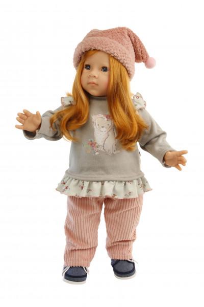 Stehpuppe Elli 52 cm rote Haare, blaue Schlafaugen, Kleidung winterlich