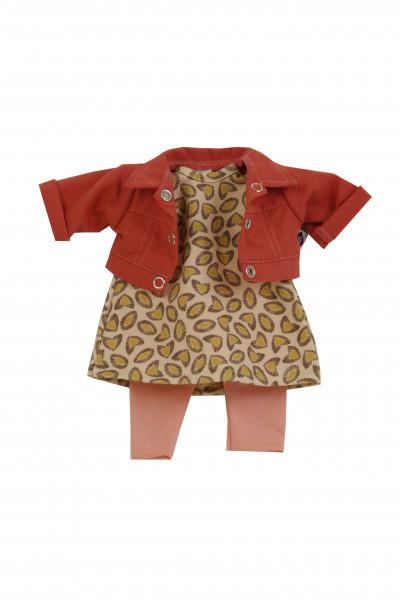 Kleidung zu Puppe Schlummerle 32 cm, sommerlich in braun/rose/rot