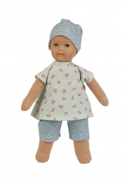 Puppe Schmuserle 30 cm Malhaar, blaue Malaugen, Kleidung mint