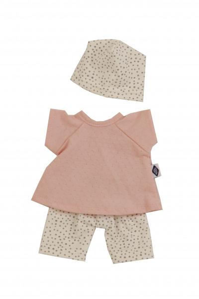 Kleidung zu Puppe Schmuserle 30 cm in rose/weiss