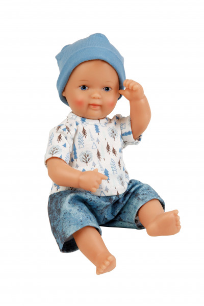 Puppe Mein 1. Baby 28 cm mit Malhaar und blauen Malaugen, Kleidung weiß/blau
