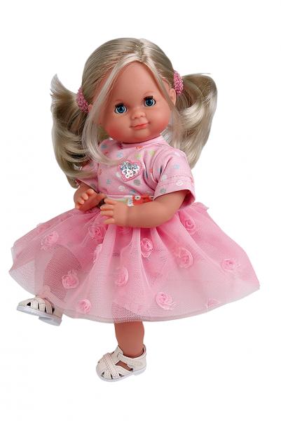 Puppe Schlummerle 32 cm blonde Haare, blaue Schlafaugen, Prinzessinnenkleid rose/weiss