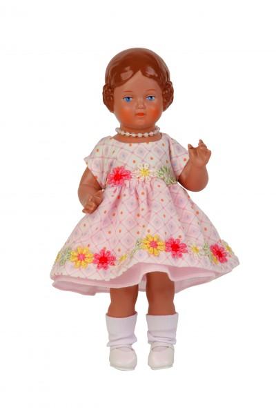 Kleid für Stehpuppe 18 cm sommerlich /rose/weiss/gelb
