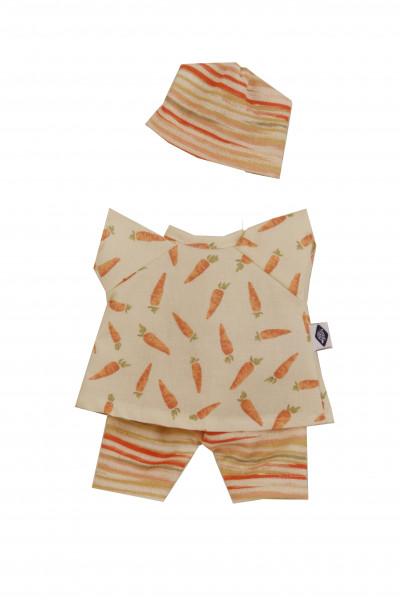 Kleidung zu Puppe Schmuserle/ Löckchen 30 cm in orange/weiss mit Möhrendruck