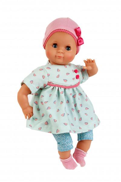 Puppe Schlummerle 32 cm mit Malhaar und blauen Schlafaugen, Sommerkleidung mint/rose