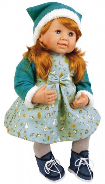 Puppe Klara 52 cm rote Haare, blaue Schlafaugen, Kleidung winterlich mint/grün/grau