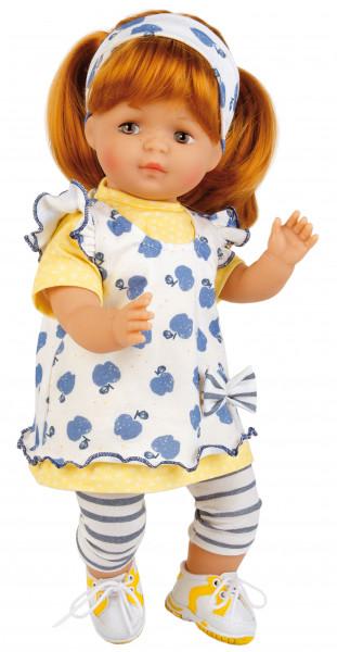 Puppe Strampelchen 37 rote Haare, braune Malaugen, Sommerkleidung blau/weiss/gelb
