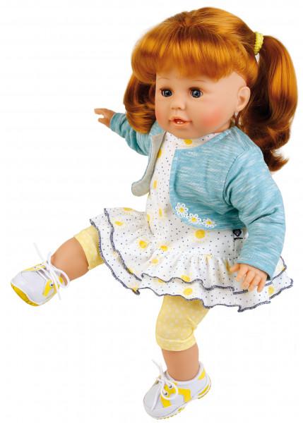 Puppe Susi 45 cm rote Haare, blaue Schlafaugen, Kleidung sommerlich in blau/weiss/gelb