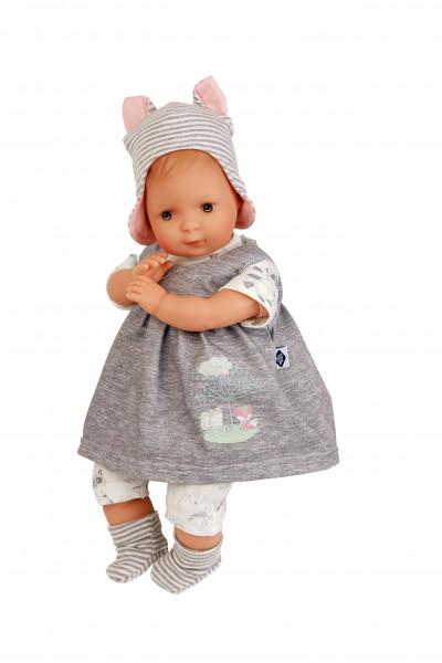 Puppe Schlenkerle 37 cm mit Malhaar und braunen Malaugen, Kleidung grau/rose/weiss