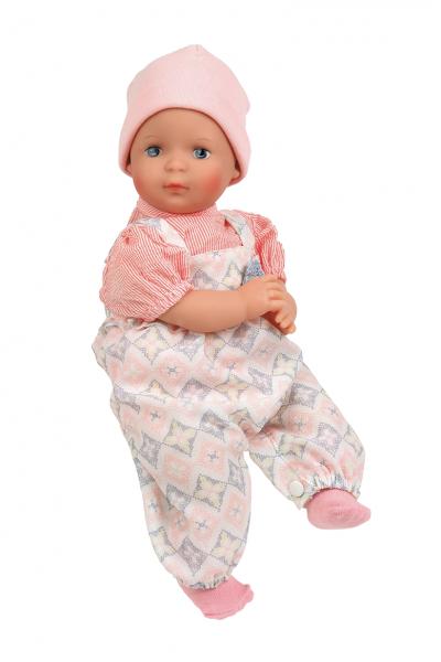 Puppe Schlenkerle 37 cm mit Malhaar und blauen Malaugen, Kleidung rose/weiss