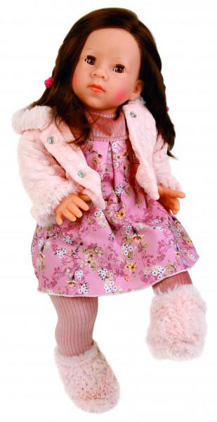 Puppe Elli 52 cm braune Haare, braune Schlafaugen, Kleidung winterlich in rose