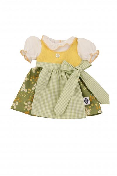 Kleid für Stehpuppe 25+34+41 cm, Dirndl grün/gelb/weiss