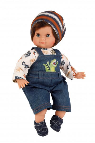 Puppe Schlummerle Junge 32 cm braune Haare, blaue Schlafaugen, Dinokleidung
