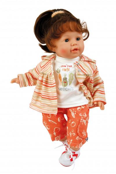 Puppe Susi 45 cm braune Haare, blaue Schlafaugen, Kleidung Veggie in orange