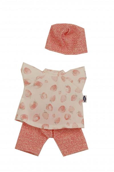 Kleidung zu Puppe Schmuserle/Löckchen 30 cm in rose/weiss mit Erdbeerdruck
