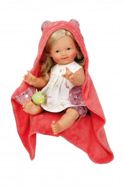 Badebaby 45 cm Schwesterchen Luise mit blondem Haar und braunen Malaugen, Kleidung weiß/rot