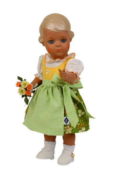 Puppe Inge 34 cm blonde Malhaare, Dirndl