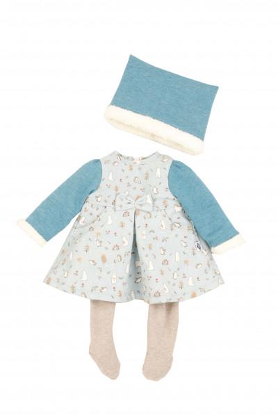 Kleidung zu Puppe 52 cm Klara/Julchen/Elli winterlich mint/türkis/weiss