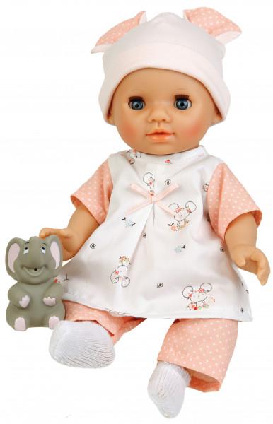 Puppe Sunny 30 cm mit Malhaar und blauen Schlafaugen, Kleidung Mäuschen in rose/weiss