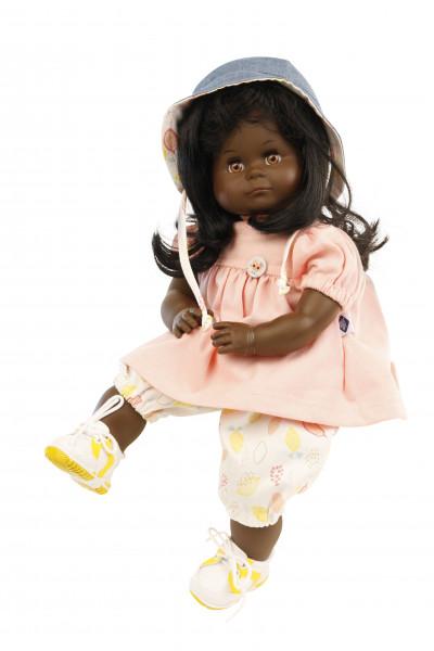 Puppe Schlummerle schwarz 37 cm schwarze Haare, braune Schlafaugen, Sommerkleidung rose/weiss/gelb/b