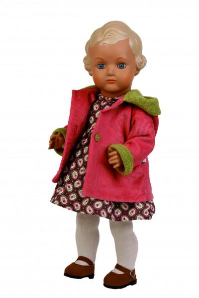 Puppe Ursel 41 cm von 1941 blonde Malhaare Winterkleidung braun/rot/grün