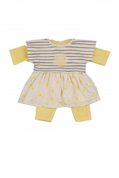 Kleidung zu Puppe 52 cm Klara/Julchen/Elli sommerlich weiss/gelb/blau