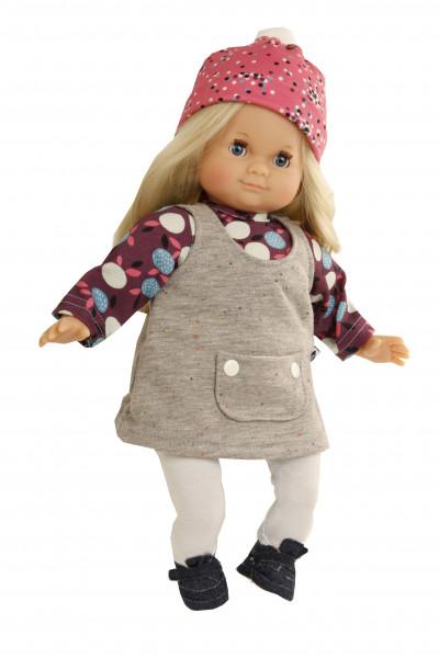 Kleidung zu Puppe Schlummerle 32 cm, winterlich in blau/weiss/grau