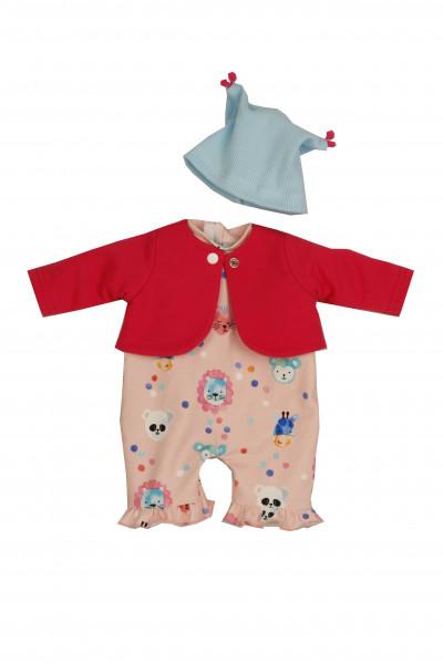 Kleidung zu Puppe 37 cm Schlenkerle/Schlummerle/Strampelchen Gr. 37 rose/rot/blau