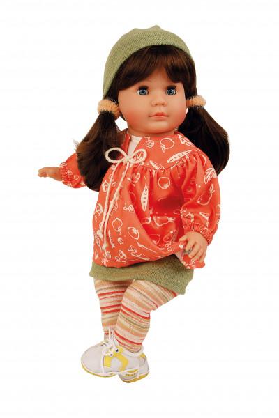Puppe Hanni 45 cm braune Haare, blaue Schlafaugen, Kleidung grün/orange