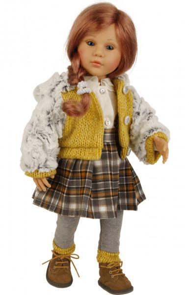 Puppe Isi 50 cm von Gudrun Legler rote Haare, Kleidung braun/gelb/weiss/grau