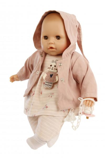 Baby Amy 45 cm mit Schnuller, Malhaar,braune Schlafaugen, Kleidung rose Hasenmotiv