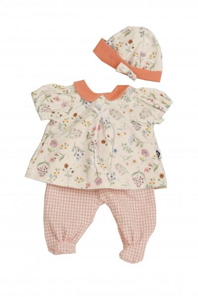 Kleidung zu Baby Amy 45 cm weiss/rose/orange mit Blumenmuster