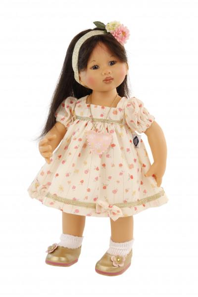 Puppe Müller-Wichtel Kimiko 30 cm schwarze Haare, Kleidung weiss/rose