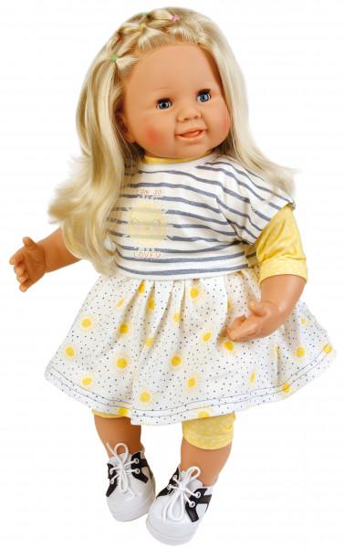Puppe Klara 52 cm blonde Haare, blaue Schlafaugen, Kleidung gelb/weiss/blau