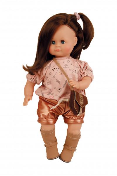 Puppe Schlummerle 37 cm braune Haare, blaue Schlafaugen, Kleidung rose/altgold mit Tasche