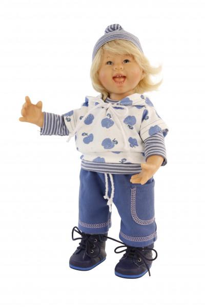 Puppe Müller-Wichtel Felix 30 cm blonde Haare, Kleidung blau/weiss