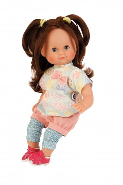 Puppe Schlummerle 32 cm braune Haare, blaue Schlafaugen, Kleidung blau/mint/rose/gelb