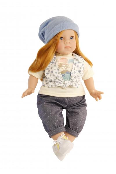 Puppe Elli 52 cm rote Haare, blaue Schlafaugen, Kleidung blau/gelb
