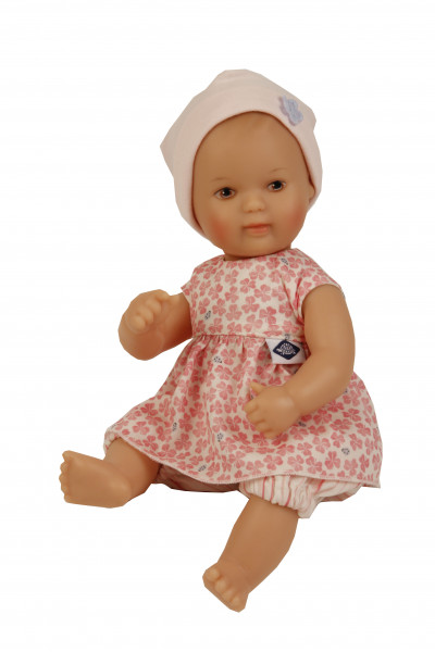 Puppe Mein 1. Baby 28 cm mit Malhaar und braunen Malaugen, Kleidung rose/weiß