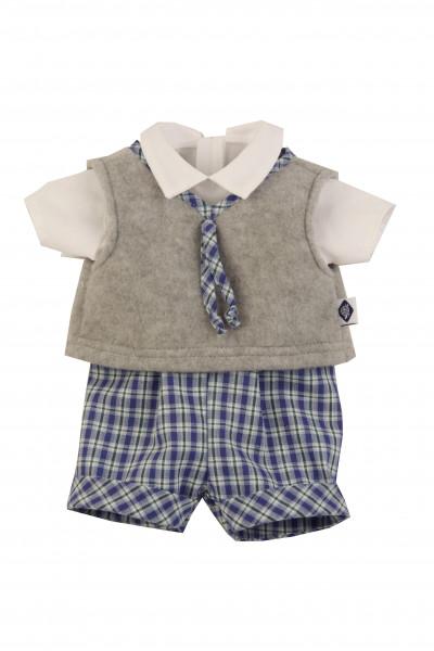 Anzug zu Stehpuppe 49 cm blau/weiss/grau